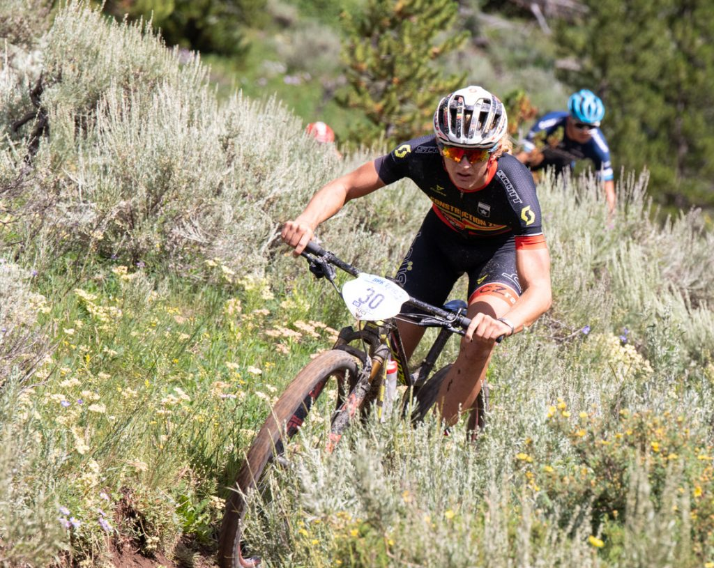 Nash Dory leads a group of racers on singletrack during stage 2 of this week's Breck Epic mountain bike race on Monday morning, the Colorado Trail. Dory entered the day in the top-10.