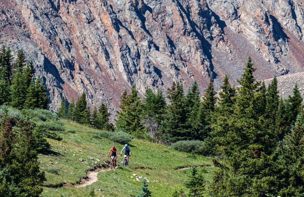 Mountain bikers pedal singletrack during Tuesday's third stage of the 2019 Breck Epic multi-stage, 6-day mountain bike race.