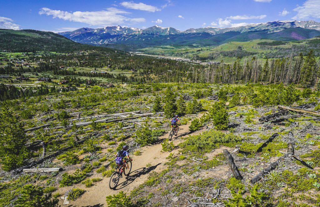 Mountain bikers ride past deadfall at timberline during the fourth stage of this year's 6-day Breck Epic mountain bike race, the 41-mile Aqueduct, the Tenmile Range in view in the background.