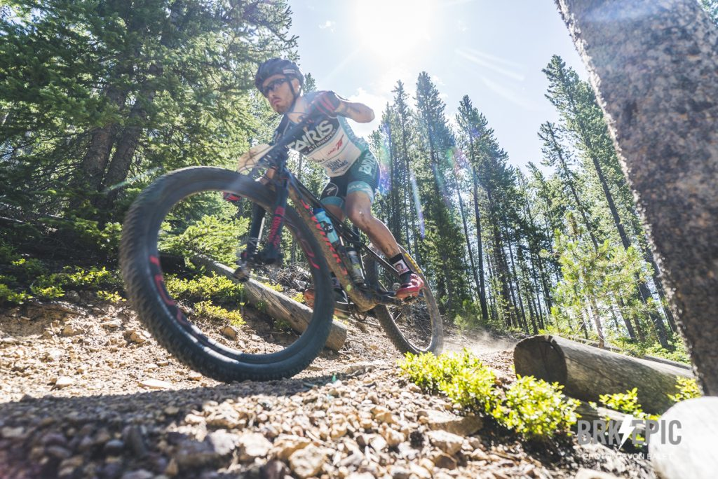 A mountain biker rides singletrack during the fourth stage of this year's 6-day Breck Epic mountain bike race, the 41-mile Aqueduct.