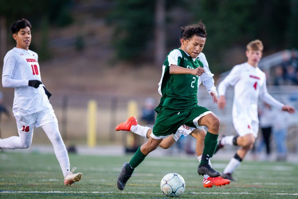 Fabian Cuevas (2) powers the ball down toward Glenwood Springs' goal, scoring in the first half of Summit's 1-0 win on Thursday at Summit High in Breckenridge.